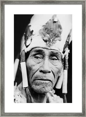 Old Klamath Man Circa 1923 Framed Print by Aged Pixel
