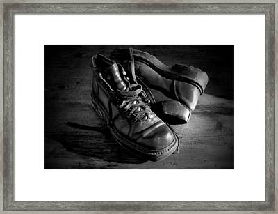 Old Leather Shoes Framed Print