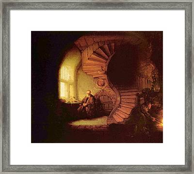 Old Man At Window Framed Print by Rembrandt
