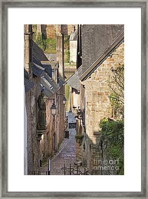 Old Medieval Street Scene St Goustan Auray Morbihan Brittany France Framed Print