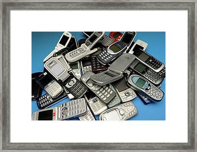 Old Mobile Phones Framed Print