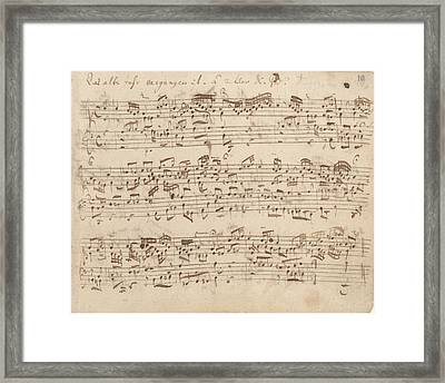 Old Music Notes - Bach Music Sheet Framed Print