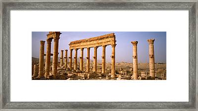 Old Ruins On A Landscape, Palmyra, Syria Framed Print