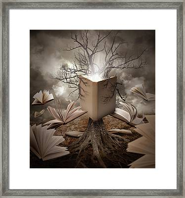 Old Tree Reading Story Book Framed Print by Angela Waye