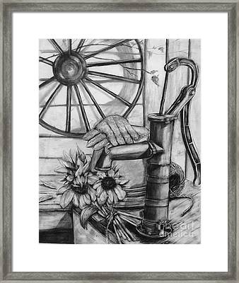 Old Water Pump Framed Print by Laneea Tolley
