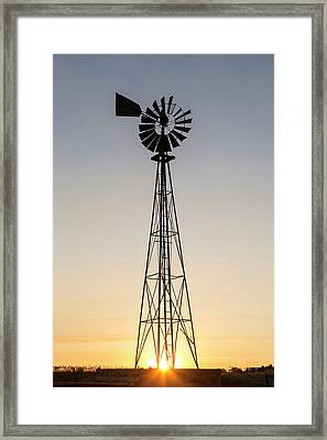 Old Windmill At Sunset Near New Framed Print by Chuck Haney