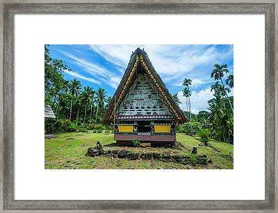 Oldest Bai Of Palau, House Framed Print by Michael Runkel