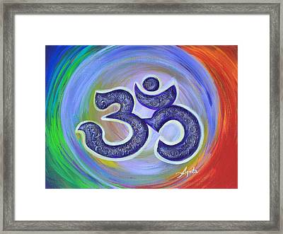 Framed Print featuring the painting Om Vortex by Agata Lindquist