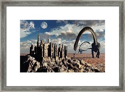 Omeisaurus Dinosaurs Come Into Contact Framed Print