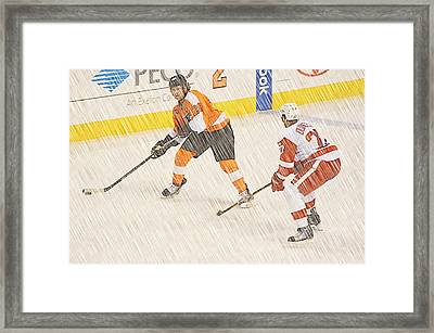 1 On 1 Hockey Framed Print by David Ziegler