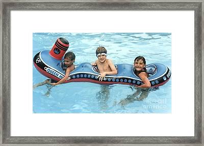On A Boat Framed Print