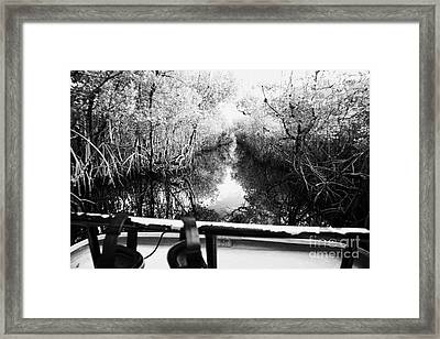 On Board An Airboat Ride Through A Mangrove Jungle In Everglades City Florida Everglades Usa Framed Print by Joe Fox