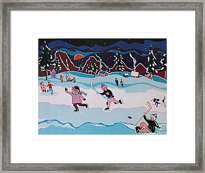 Framed Print featuring the painting On Frozen Pond by Joyce Gebauer