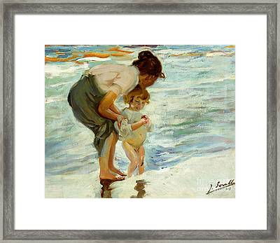On The Beach Framed Print by Joaquin Sorolla y Bastida