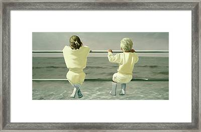 On The Railing Framed Print by Mark Van Crombrugge