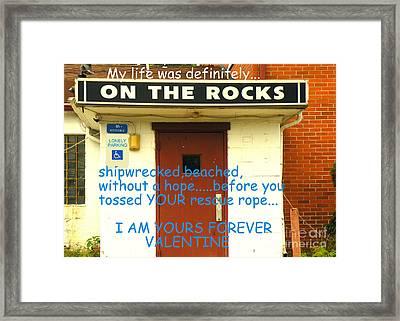 On The Rocks Valentine Framed Print by Joe Jake Pratt