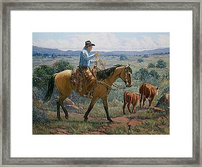 One Cow Outfit Framed Print by Randy Follis