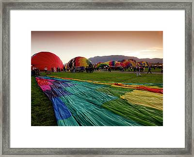 One Of Many Balloons Being Prepared Framed Print