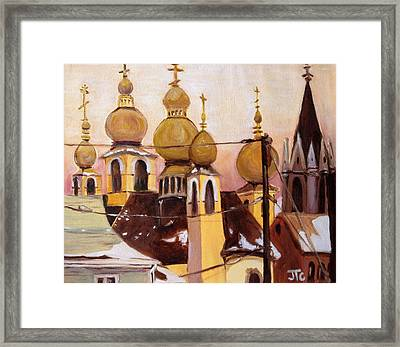 Framed Print featuring the painting Onion Domes by Julie Todd-Cundiff