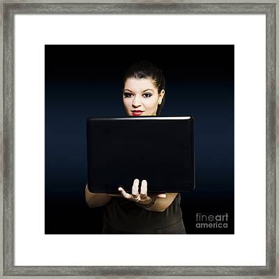 Online Female Business Woman Working On Laptop Framed Print