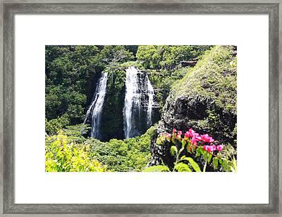 Opaekaa Falls Framed Print