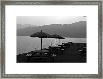 Open Air Restaurant With Tables And Chairs At The Shore Of Loch Ness Framed Print