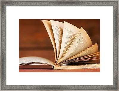 Open Book In Retro Style Framed Print by Michal Bednarek