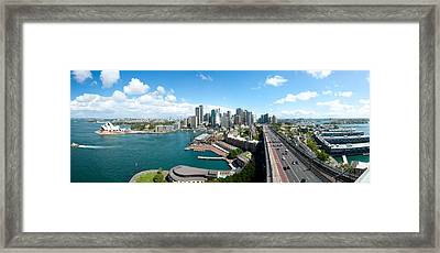 Opera House With City Skyline, Sydney Framed Print by Panoramic Images