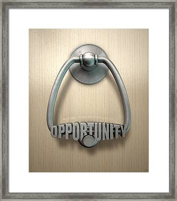 Opportunity Knocks Door Knocker Framed Print by Allan Swart