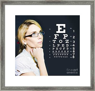 Optician Or Optometrist Wearing Eye Wear Glasses Framed Print by Jorgo Photography - Wall Art Gallery