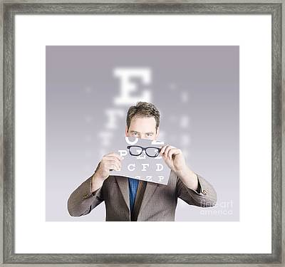 Optometrist Or Vision Doctor Holding Eye Glasses Framed Print by Jorgo Photography - Wall Art Gallery
