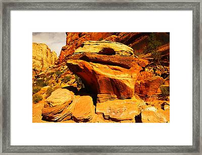 Orange Rock Framed Print by Jeff Swan