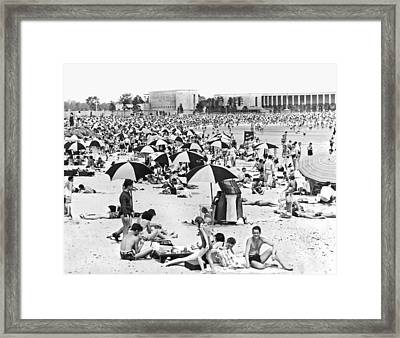 Orchard Beach In The Bronx Framed Print by Underwood Archives