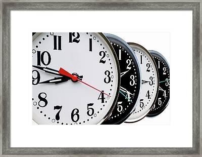Ordered Clock Times Framed Print by Victor De Schwanberg