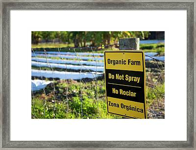 Organic Land Warning Sign Framed Print by Jim West