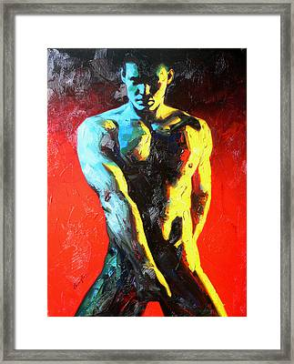 Original Abstract Oil Painting Art-male Nude By Kinfe Framed Print by Hongtao     Huang