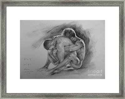Original Drawing Sketch Charcoal Chalk  Gay Man Portrait Of Cowboy Art Pencil On Paper By Hongtao  Framed Print