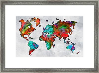 Original Vibrant Colorful World Map Pop Art Style Painting By Megan Duncanson Framed Print by Megan Duncanson