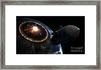Orion-drive Spacecraft Leaving Earth Framed Print by Rhys Taylor