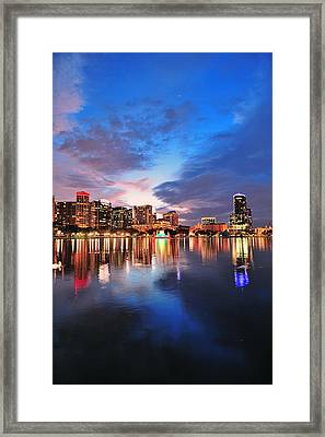 Orlando Downtown Dusk Framed Print