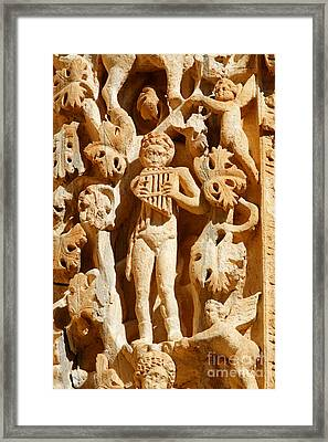 Ornately Sculpted Pillar At Leptis Magna In Libya Framed Print