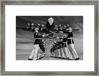 Over The Marine Corps Silent Drill Platoon Framed Print