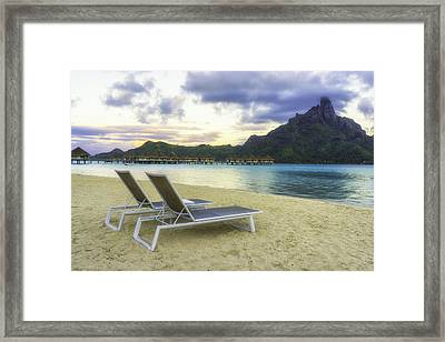 Overwater Bungalows On A White Sandy Beach Framed Print by Mel Ashar