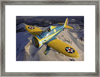 P-26 Pea Shooter Flying Over Chino Framed Print by Phil Wallick