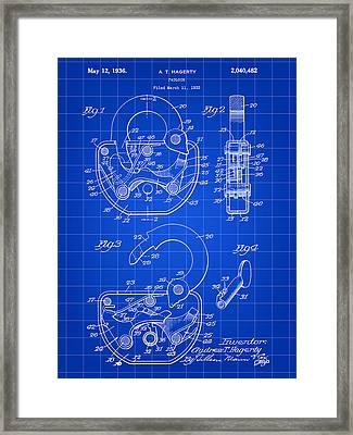 Padlock Patent 1935 - Blue Framed Print