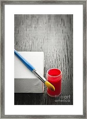Paintbrush On Canvas Framed Print