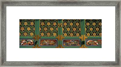 Paintings On The Door Of A Buddhist Framed Print by Panoramic Images