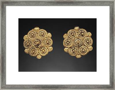 Pair Of Disk Earrings Unknown Etruria Late 6th Century B Framed Print by Litz Collection