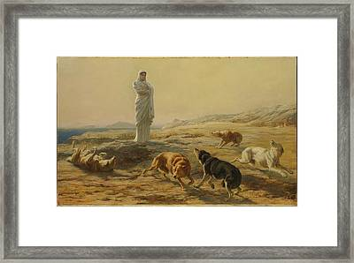 Pallas Athena And The Herdsmans Dogs Framed Print by Briton Riviere