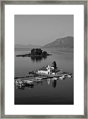 Panagia Vlachernon Chapel And Pontikonisi Islet Framed Print by George Atsametakis
